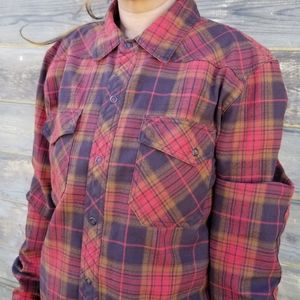 L.L. Bean | wool blend plaid snap button shirt